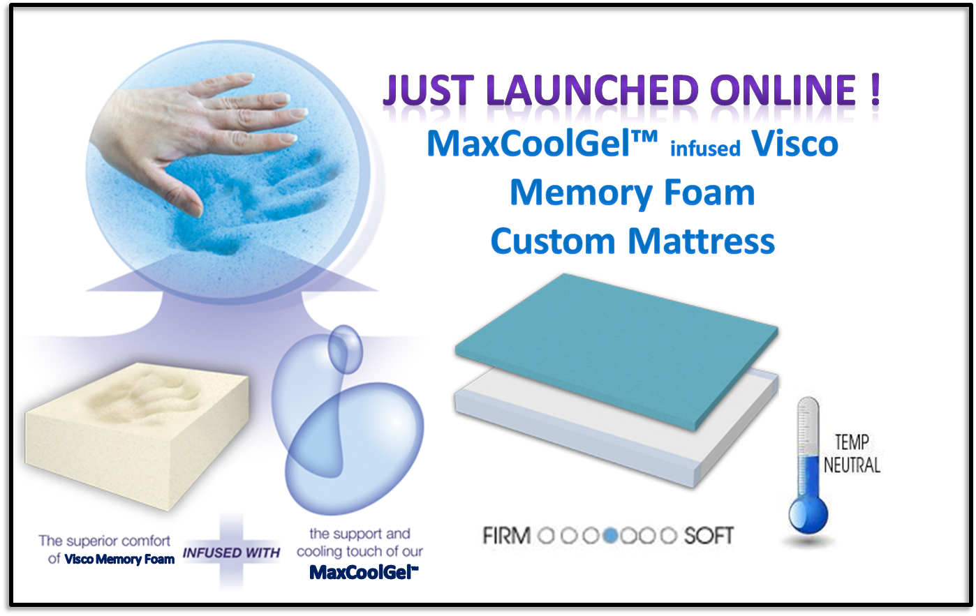 NEW! MaxCoolGel Visco Memory Foam Custom Mattress